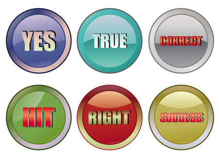 sucsess: set of correct buttons, vector illustration Illustration