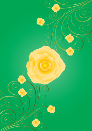 gele rozen: Gele rozen met krullen op groene achtergrond, vector extra