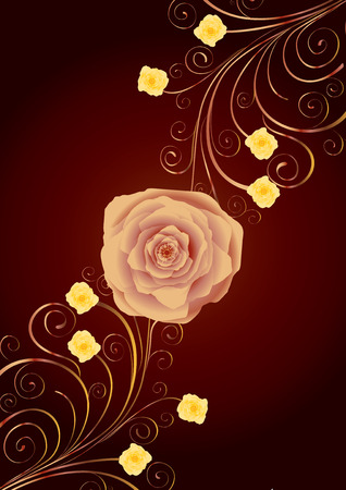 Tea-rose and gold curls on brown background, vector additional Vector