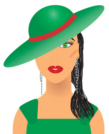 ms: Aristocratic woman in green hat and dress, vector additional