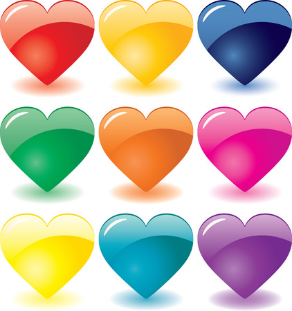 Set of 9 glass hearts for Valentine`s day, vector additional Vector