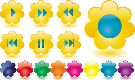 botones musica:  Botones de m�sica inusuales como flores de color amarillo, vector