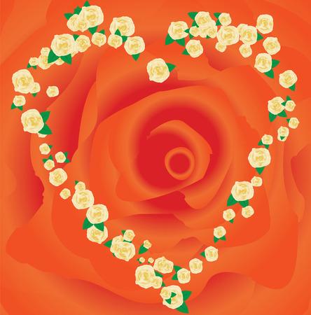 lovingly: Orange Valentine`s frame made from roses, vector illustration additional Illustration