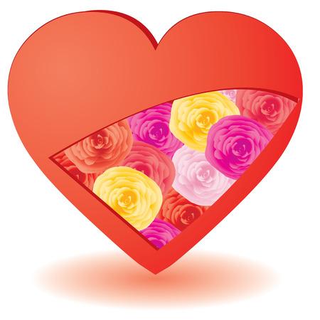 Cortar el corazón con rosas dentro de