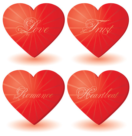 paramour: set of 4 hearts with love wordsvector illustration