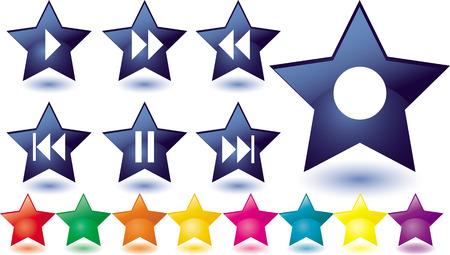 botones musica: Conjunto de estrellas de vidrio azul como botones de m�sica