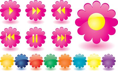 botones musica: Botones de m�sica como flores de color rosa Vectores