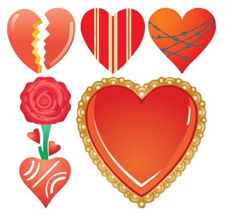 Set of valentine`s hearts, part 7, vector illustration