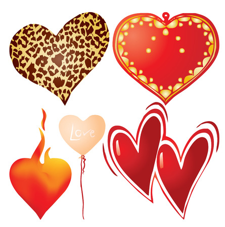 Set of valentine`s hearts, part 9, vector illustration Vector