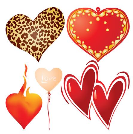 Set of valentine`s hearts, part 9, vector illustration Vector