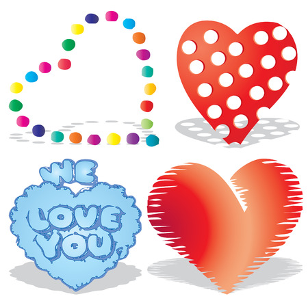 Set of valentine`s hearts, part 8, vector illustration Vector