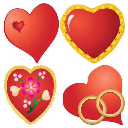 paramour: Set of valentine`s hearts, part 10, vector illustration Illustration