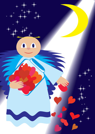paramour: St. Valentine sow love in night, vector illustration