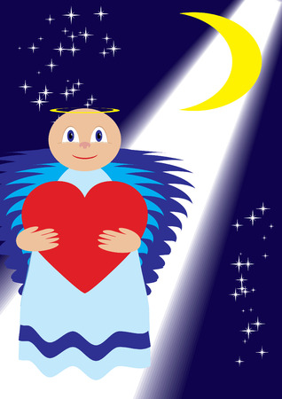 Love angel show love for all over the World, vector illustration Vector