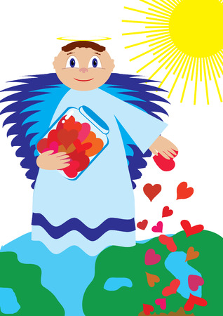 sow: Love angel sow love for all over the World, vector illustration