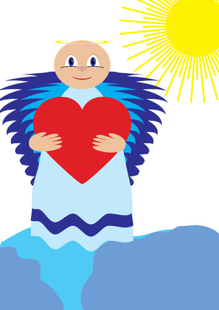 Love angel show love , vector illustration Vector