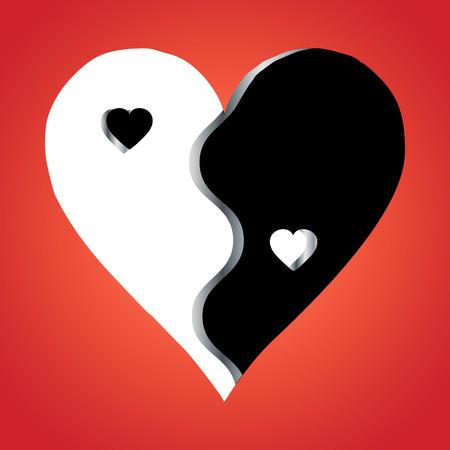yin et yang: Amour Yin Yang sur fond rouge, vecteur Illustration