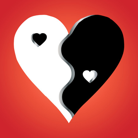 yinyang: Love Yin Yang on red background, vector