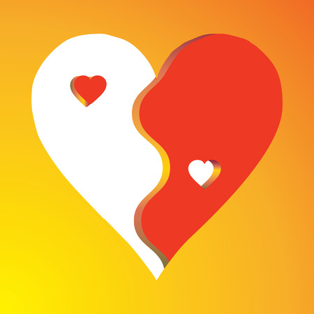 Love Yin Yang on yellow background, vector  Vector