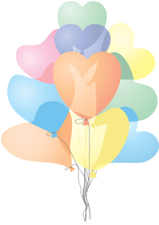 Colored heart shaped balloons, vector illustration, no transparency Stock Vector - 6285891