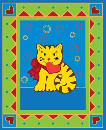 Valentine card with kitten, vector illustration Stock Vector - 6285885