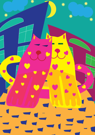 nigth: Valentine card with bright cats, vector illustration Illustration