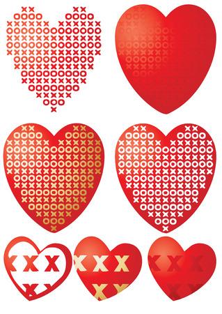Set of XOXO hearts, vector illustration Stock Vector - 6285889