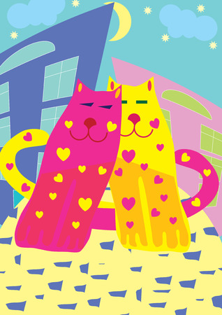 Valentine card with cats, vector illustration Stock Vector - 6285892