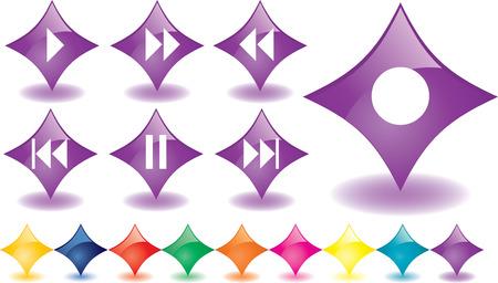 botones musica: P�rpura de rombos como botones de m�sica, vector