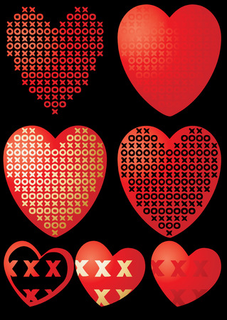 Set of XOXO hearts on black, vector illustration Stock Vector - 6285900