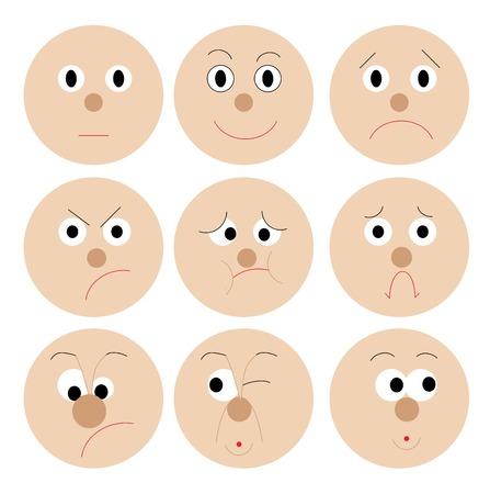 sentimientos y emociones: Conjunto de taza divertidos emoticonos Vectores