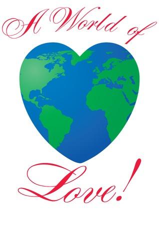 globus: Heart shaped world on white background, illustration
