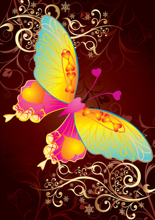 Love butterfly on gold background, illustration