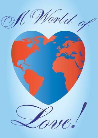 amor al planeta: Planeta de amor en forma de coraz�n, ilustraci�n