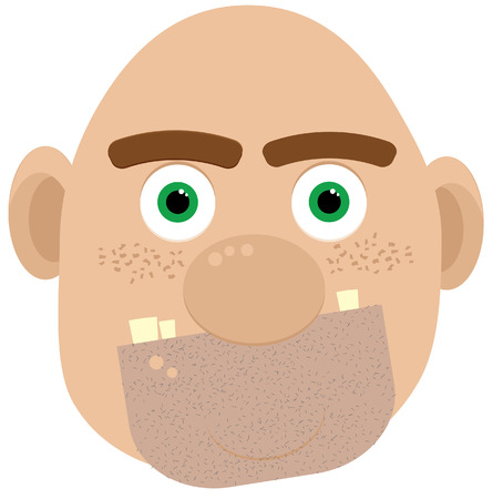 hideous: illustration of bald ogre