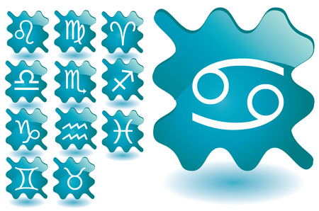 water carrier: Blue glass blots as zodiac icons, illustration