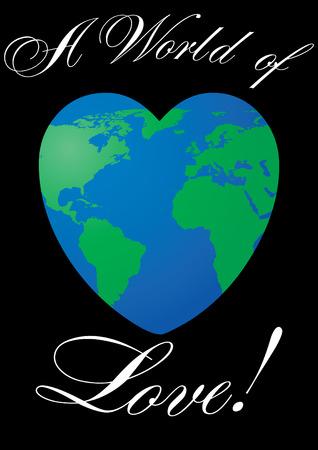 amor al planeta: Tarjeta de San Valent�n con planeta de amor en negro, ilustraci�n