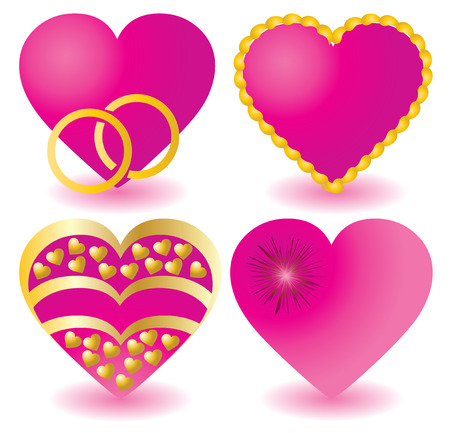 Set of pink valentine`s hearts, illustration Stock Vector - 6319915
