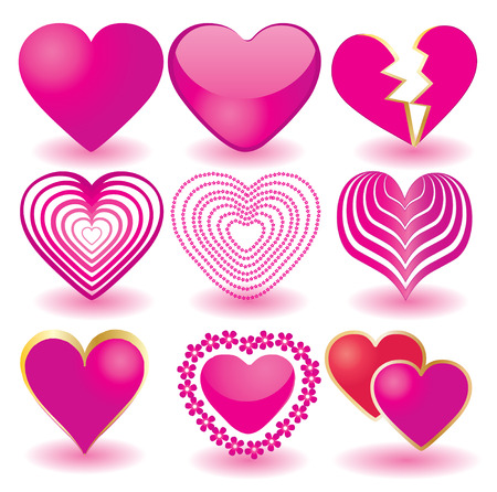glass heart: Set of pink valentine`s hearts, part 2, illustration