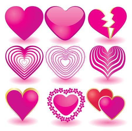 Set of pink valentine`s hearts, part 2, illustration