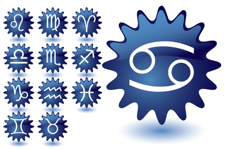 Blue glass suns as zodiac icons, illustration Vector