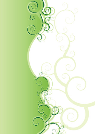 Green floral background with curls. illustration Stock Vector - 6320030