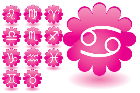 water carrier: Pink flowers as zodiac icons, illustration