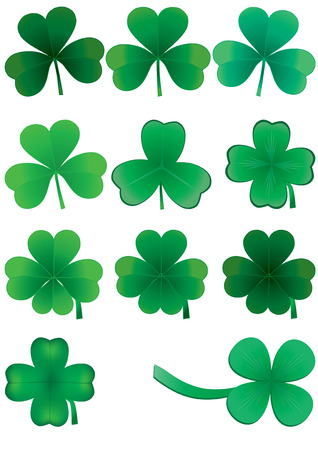 cloverleafes: Set of clovers for St. Patrick`s day, vector illustration