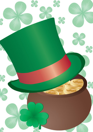 Vector background with Top Hat and four-leafed clover for St. Patrick`s day Vector