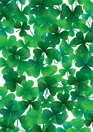 patric: Find one happt clover, background for St.Patrick day, vector illustration