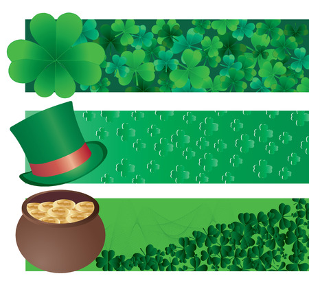 patrik day: Set of tree vector banners for St. Patrick`s day