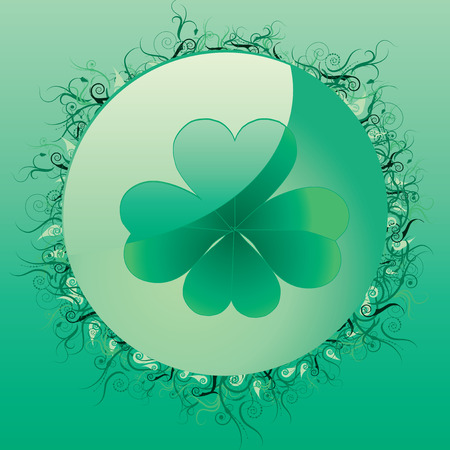 cloverleafes: Glass clover button for St. Patrick`s day, vector illustration