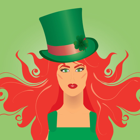 clover face: Irish girl in green top-hat for St. Patrick`s day, vector illustration Illustration