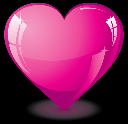 Pink glass Valentine heart, vector illustration